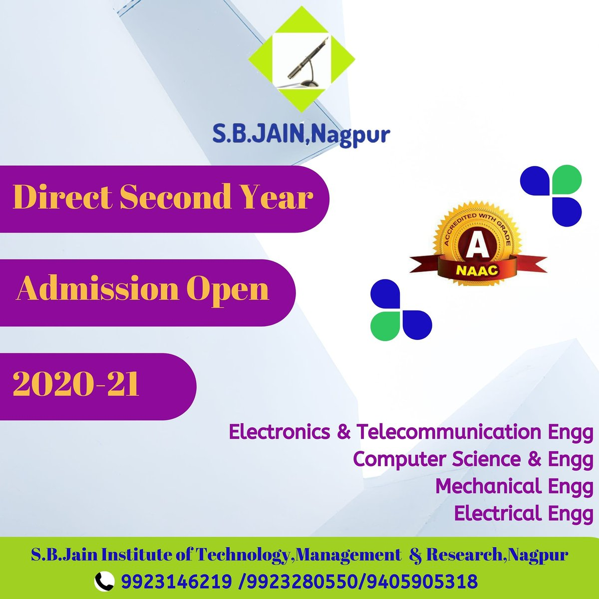 Attention !!!! Admissions open for the academic year 2020-21 in Direct Second Year. Call for more details and online process.  #MHCET #JEEMAINS #XII #HSC #Placement #Job #Sofware #Campus #SBJITMR  #College #Toppers #Engineering #Engineers #SBJain #AICTE #MHRD #RTMNU #Nagpurpic.twitter.com/sFKfCfblqJ