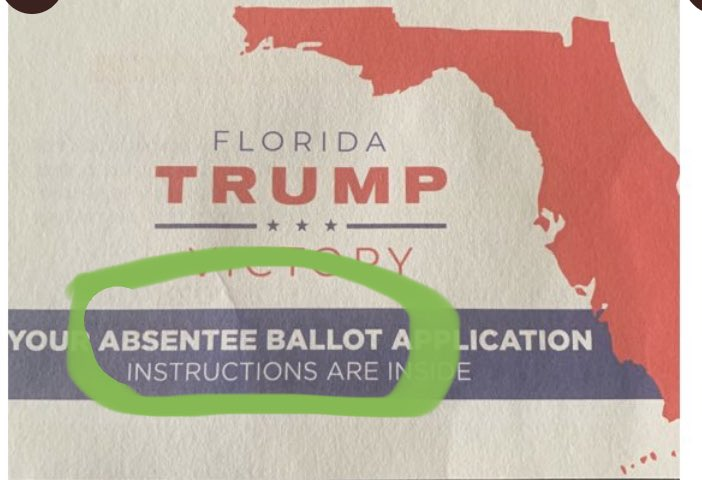 "To the folks still saying that absentee ballots and vote-by-mail ballots are different in Florida, let me refer you back to the picture above  The GOP is literally calling a vote by mail ballot application an ""absentee ballot application""  Note the green highlights I added https://t.co/9NuUurtpJp"