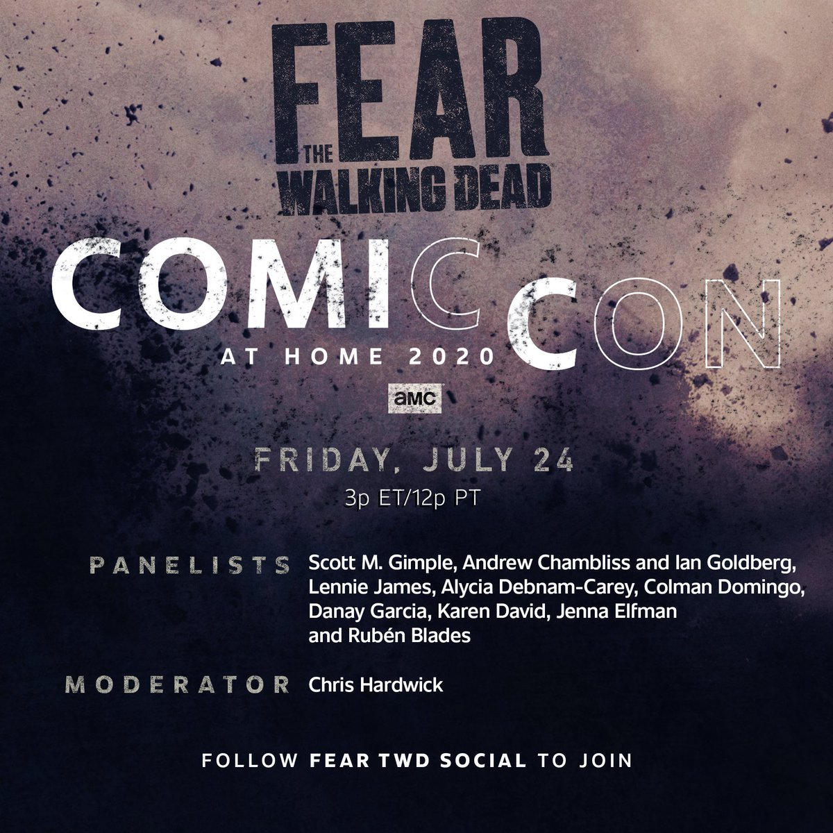 Replying to @FearTWD: Get ready for a look at the new season of #FearTWD with #ComicConAtHome on July 24th.