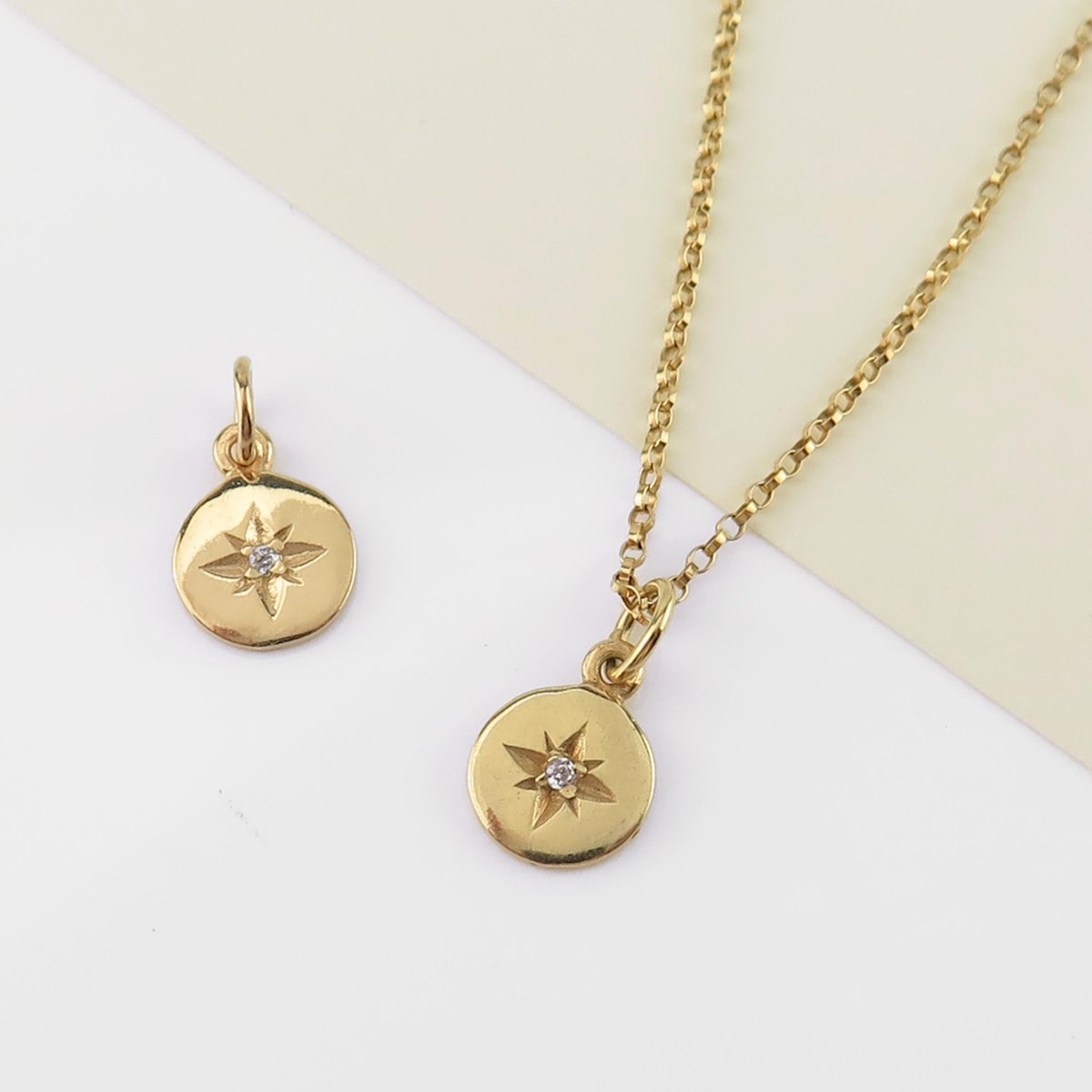 NEW ARRIVAL  We can get enough of our #PoleStar designs the latest addition is this #GoldVermeil Pole Star #Charm with #CZ 8mm  This style is reminiscent of the #VictorianEra where #diamonds were set with star designs often referred to as 'gypsy' style  What do you think? https://t.co/Uv5KfEGHSZ