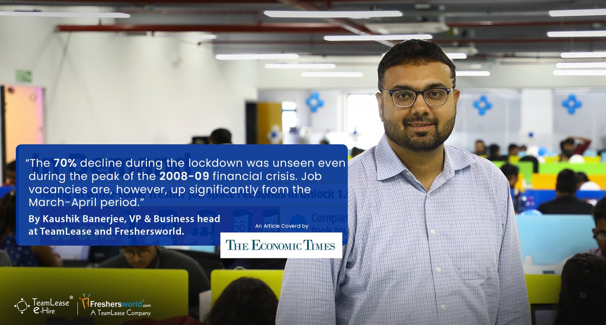 "@kaushikappu2000, CEO @teamleaseehire was mentioned in the article titled: ""Unlock 1.0: White-collar jobs for freshers gain pace"" by @sreeradhabasuET in @EconomicTimes @BangaloreMirror  Read more at: http://fwld.in/et13july   #Unlock1 #Unlock2 #WhiteCollar #Gigs #GigJobs #Fresherspic.twitter.com/J3LUPQWBJW"