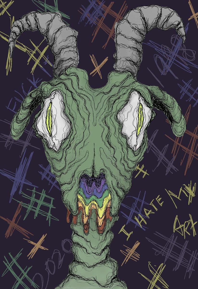 Gordon the goat is my art demon.  #art #ArtistOnTwitter #artph #digitalart #darkart #ink #mixedmediapic.twitter.com/LFL5RGD80C