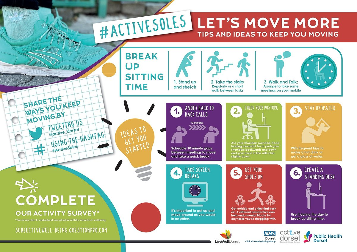 RT @LWDorset: Watch your back! How's your make-shift workspace? Here are @Active_Dorset's six tips to take care of your posture and #MoveMore  #ActiveSoles