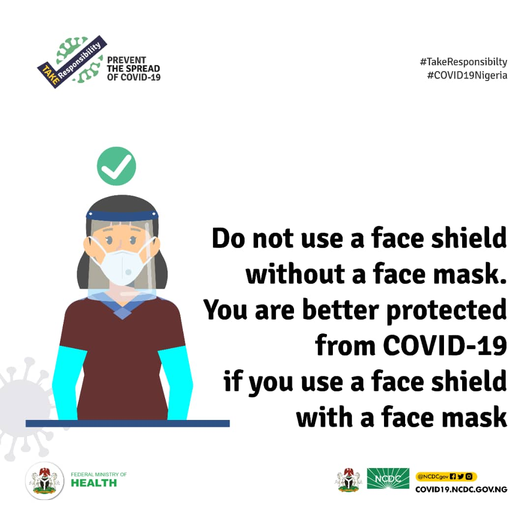 Do not use a face shield without a face mask. A face shield alone cannot prevent the spread of infectious diseases like #COVID19  Always wear a mask & remember to practice frequent hand washing, respiratory hygiene & physical distancing for adequate protection #TakeResponsibility https://t.co/nqleG2uJ4E