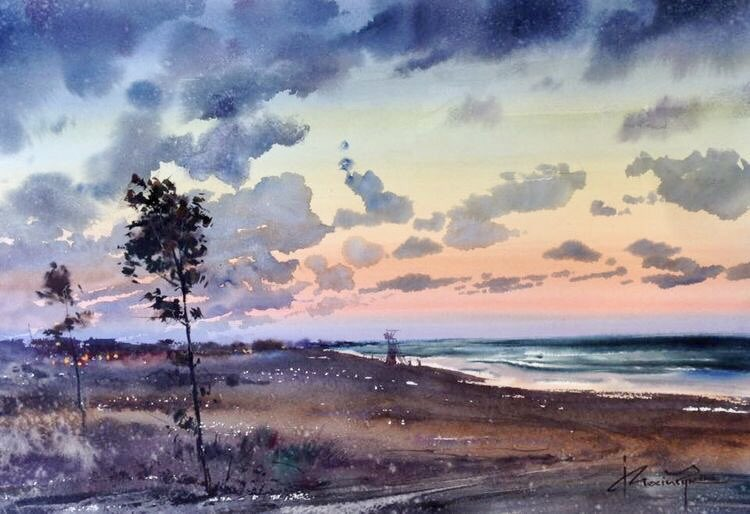 Watercolor by Igor Mosiych.  <Sunset Landscapes> <br>http://pic.twitter.com/refKeHlfP4