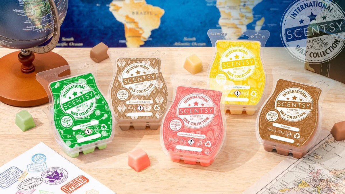 📣NEW RELEASE📣  Check out this lovely new #wax #collection  #INTERNATIONAL   The samples smell amazing  £30 for all 5-individually £7.25ea  Can be preordered by commenting below or order direct from 6.30 tonight    @scentsy @BelfastHourNI @smallbizshoutUK