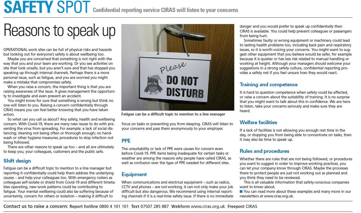 What health, safety and wellbeing concerns can you contact @CIRAS_UK about? Our Safety Spot in the latest @railnews gives some examples. We will pass on your concerns confidentially. Your identity is protected.  #safetyfirst #safety #workplace #worksafe #railsafety #railwaysafetypic.twitter.com/VyFuN4ka98