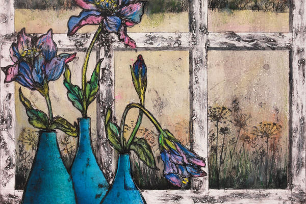 'On my windowsill' by Vicky Oldfield, contemporary UK printmaker #WomensArt