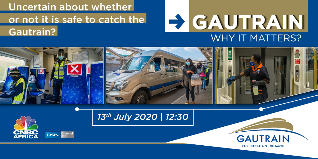 Don't miss #CNBCAfricatoday at 12:30pm CAT. The CEO of @TheGautrain, William Dachs, talks about #Gautrain's journey to ensure safe travels for all who use the system during the #Covid19 pandemic. #DSTV410   #GautrainJourneys #WhyItMatters #Gautrain https://t.co/HzCLF6Ch8u