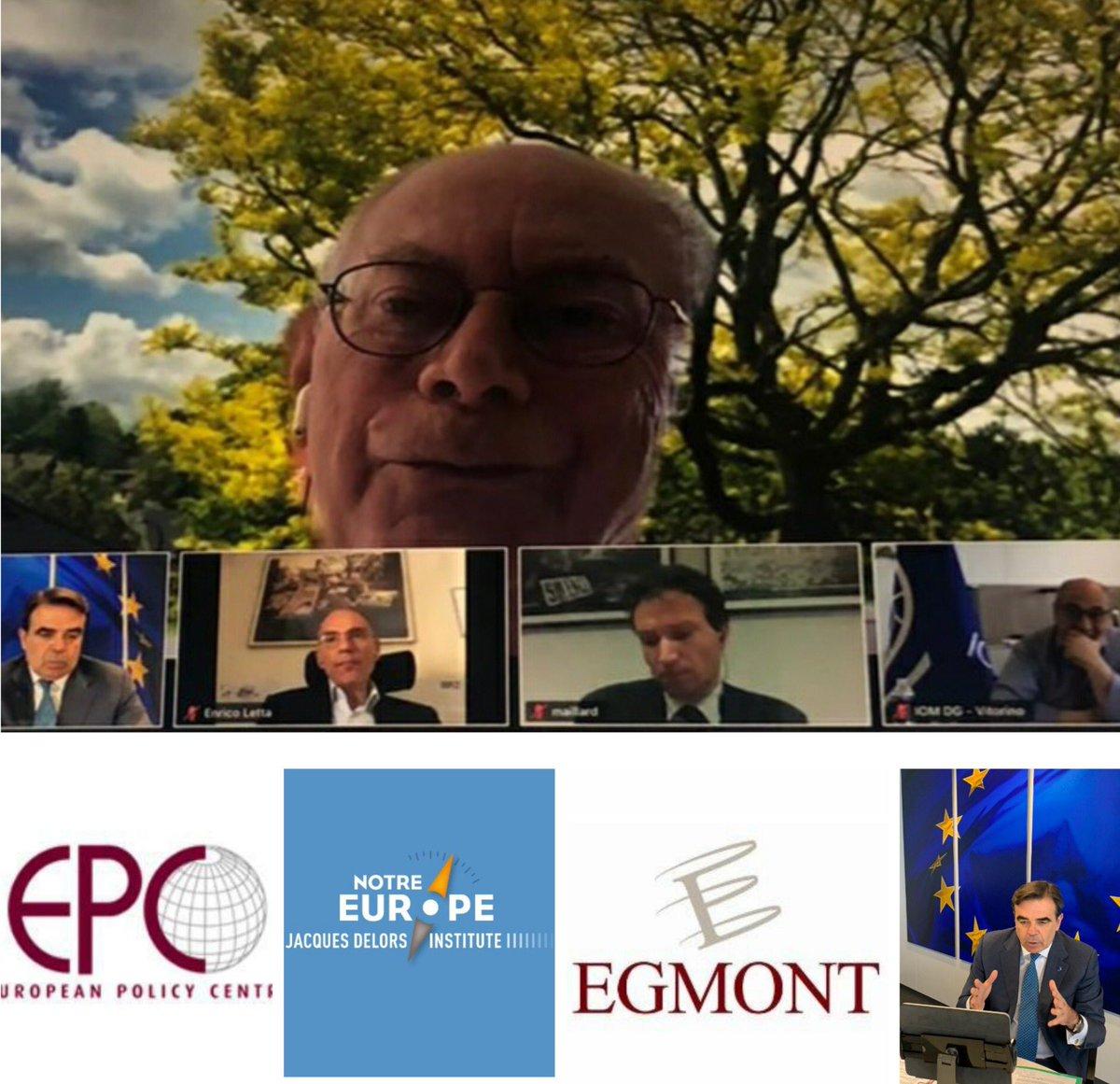 Échange fort intéressant sur le futur Pacte Migration et Asile avec @HvRpersonal , @EnricoLetta, @IOMchief Antonio Vitorino organisé par @DelorsInstitute, @EgmontInstitute, @epc_eu. Un privilège de partager nos ambitions et dialoguer avec ces grands européens. https://t.co/3YRR1D2TYw
