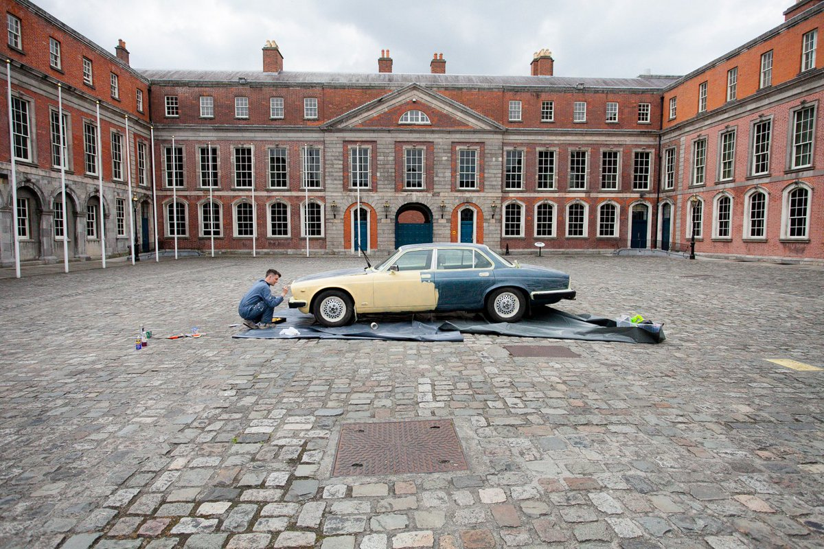 Philip Napier's SOON: a political piece for #CuratorBattle #TremendousTransport: A jaguar gets ready (Day1) to be driven and go around in circles (Day2). How SOON would it reach its destination? #CastleContemporary- These Immovable Walls by Michelle Browne http://www.michellebrowne.net/theseimmovablewalls.html …pic.twitter.com/lEeccCF0ER