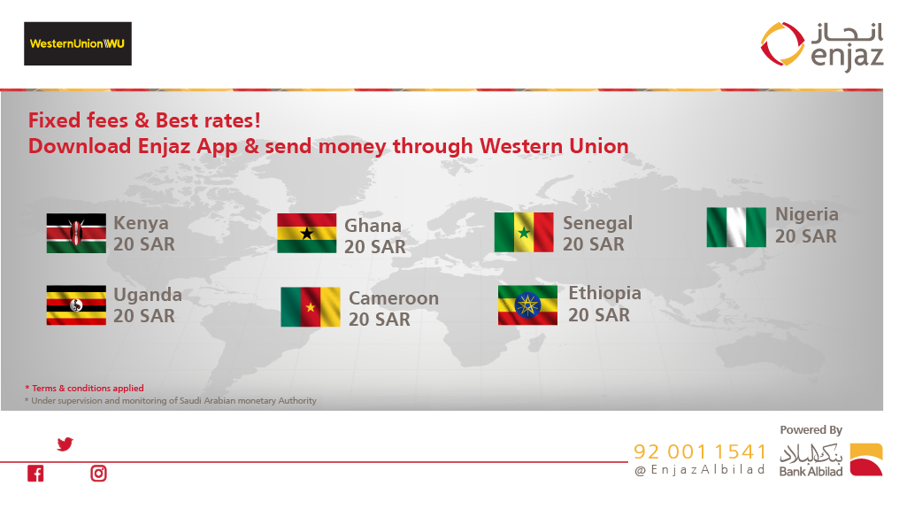Fixed fees & Best rates 👍 Download Enjaz App and send money through Western union   For more information: https://t.co/D1D8NJCnav   Download #EnjazApp https://t.co/JzHtgrf6f8 https://t.co/CdxOpNmEiP