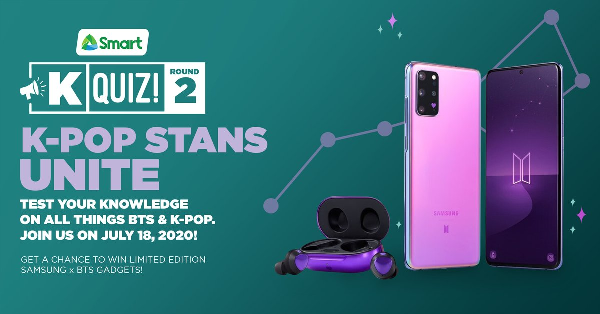 K-Pop Stans, unite! Join us this Saturday, July 18th at 8PM for the 2nd round of #SmartKQuiz and it's all about K-Pop! Test your knowledge for a chance to win #SamsungGalaxy #BTS phones, earbuds, and more premium items.  Register here: https://t.co/QNgauHTwix https://t.co/QrRIgSBKR1