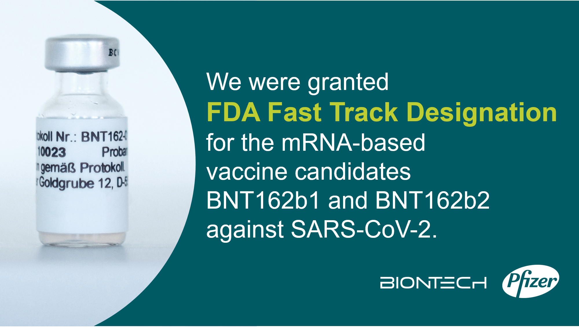 Biontech Se On Twitter We Are Proud To Have Received Fast Track Designation From The U S Fda For Two Of Our Four Investigational Vaccine Candidates From The Bnt162 Mrna Based Vaccine Program They