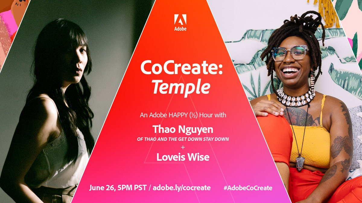 """Missed our first #AdobeCoCreate livestream? Join a happy (half) hour featuring @thaogetstaydown and @LoveisWise_. Come create with us and watch these artists explore their theme of """"Temple"""": https://t.co/f7HvPisg22 https://t.co/vvlyQl8Ppo"""