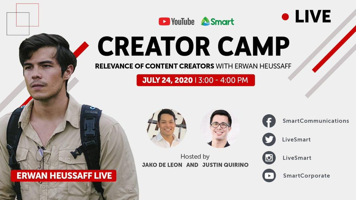Catch @erwanheussaff with us on July 24th as he talks about the Relevance of Content Creators at #CreatorCampLIVE! https://t.co/u3wFITyS1h https://t.co/V53hc9fxQE