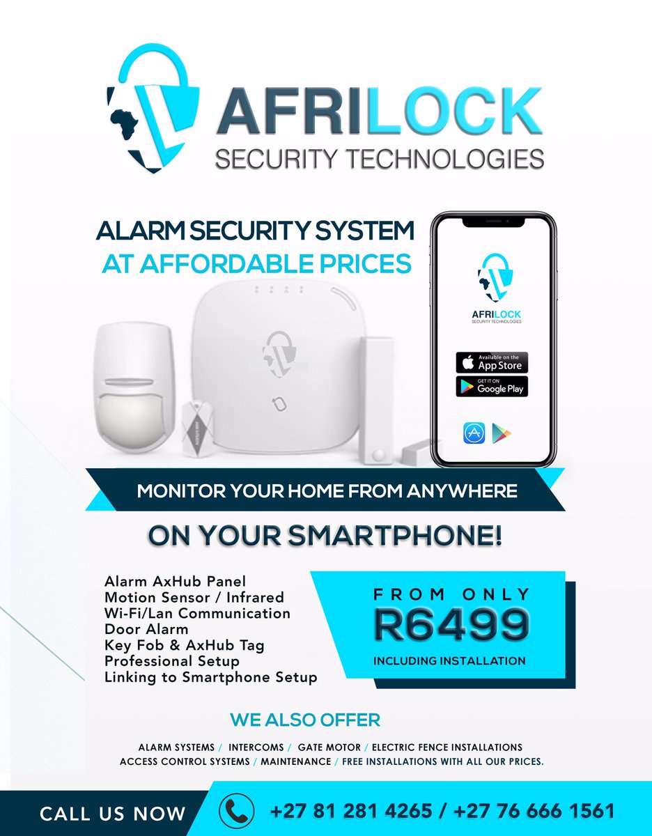 AfriLock Security Tech offers High Quality CCTVs + Alarm Systems for your Home and Business premises (Prices include Installations)  Call us Now! + 27 81 281 4265 / +27 76 666 1561  Your Safety. Our Priority  <br>http://pic.twitter.com/CIczJUIEkW