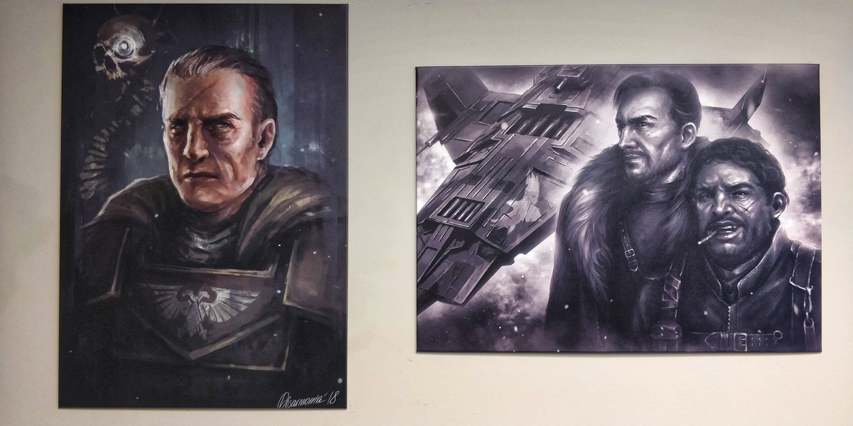 Left: Marius Sejanus Lux. Right: Jax and Paco. Both OC commissions to @disarmonia, both incredible. Printed on metal, A3 size via @Displate! #warhammer40k #40K #fadingSuns https://t.co/zdWrkSMBcd