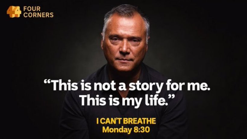 Stunningly powerful stuff from Stan Grant as he shares his often painful #blacklivesmatter story on #4corners.   #icantbreathe https://t.co/8ORbSWDJes