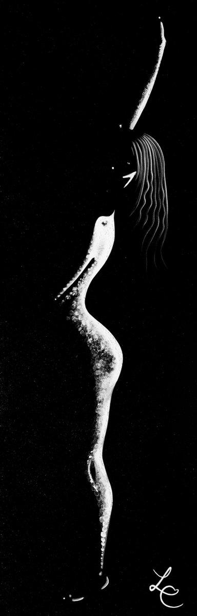 'Lorsque le soleil se couche, les étoiles apparaissent' by Laura Chaplin #fingerpainted #art #silhouette #blackandwhite #laurachaplin
