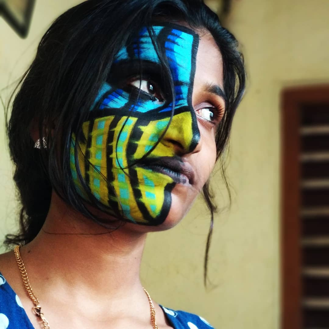 When i facepainted my sister like the god himself @JEFFHARDYBRAND @MATTHARDYBRAND @BethBrittHardy_  plz check out my insta to see all my Jeff hardy art works - insta name- ab_hardy_india https://t.co/NtaFkyDGj5