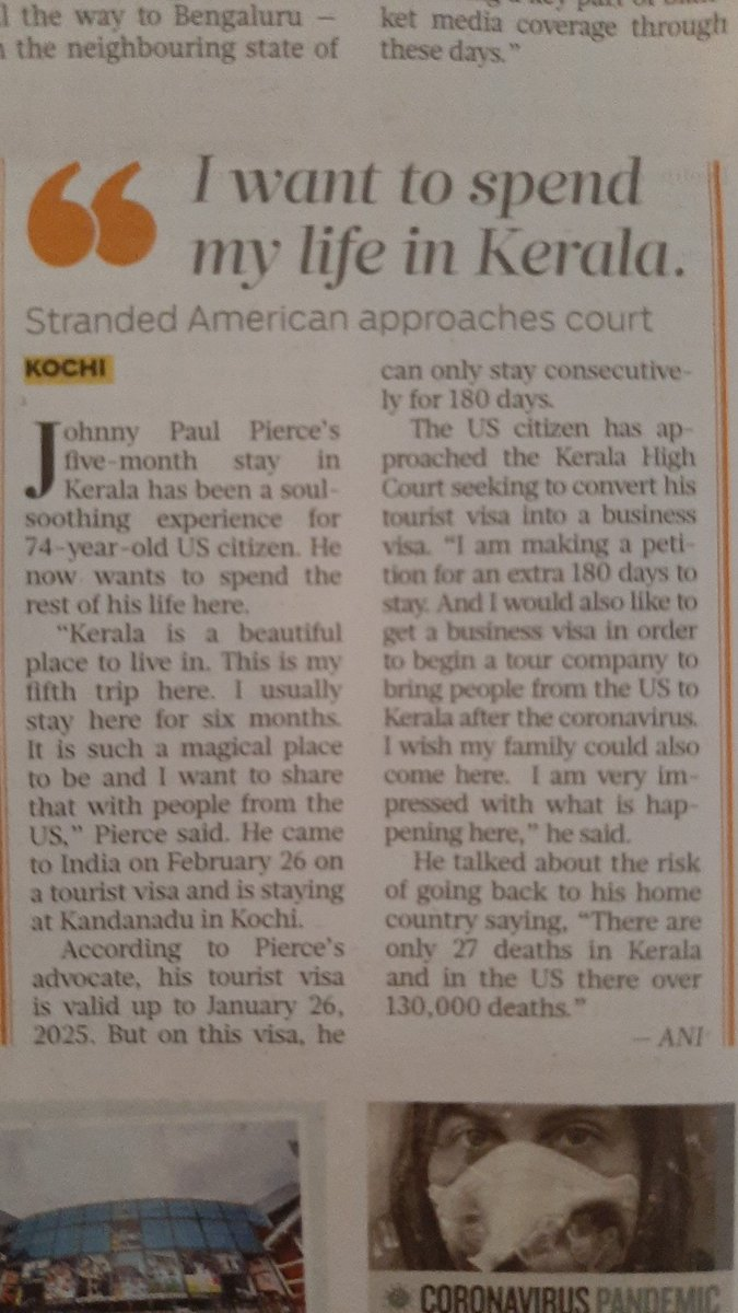 "US citizen Johnny Paul Pierce approaches #KeralaHighCourt seeking to prolong his stay in #Kerala ""There's chaos in US due to #coronavirus & govt is not taking care like over here. I want to stay here for another 180 days in Kerala and start a travel company."" cc @realDonaldTrump https://t.co/i6a1ae4fz5"