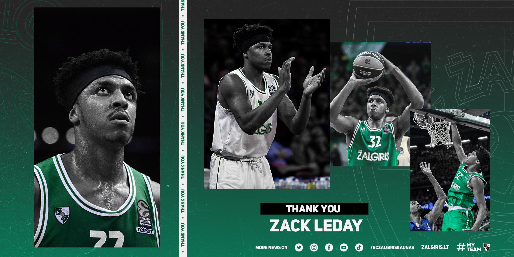 Lo Zalgiris Kaunas annuncia l'uscita di Zach LeDay. E' biennale con l'Olimpia Milano