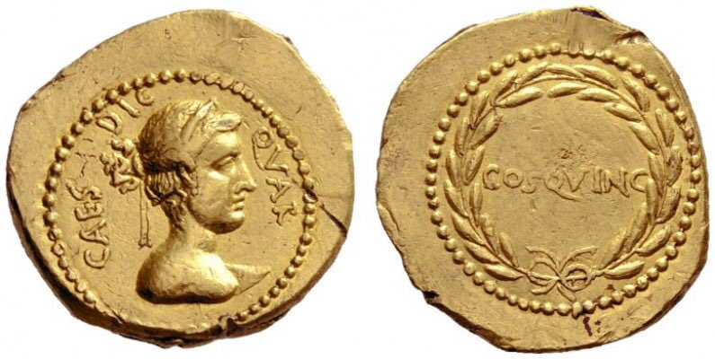 Ancient Coin of the Day:  Aureus of Julius Caesar, from Rome, 44 BC.  Obv: CAES·DIC QVAR: Bust of Venus, wearing diadem.  Rev: COS·QVINC: Inscription within laurel-wreath.  RRC 481<br>http://pic.twitter.com/6fyiQthZY7