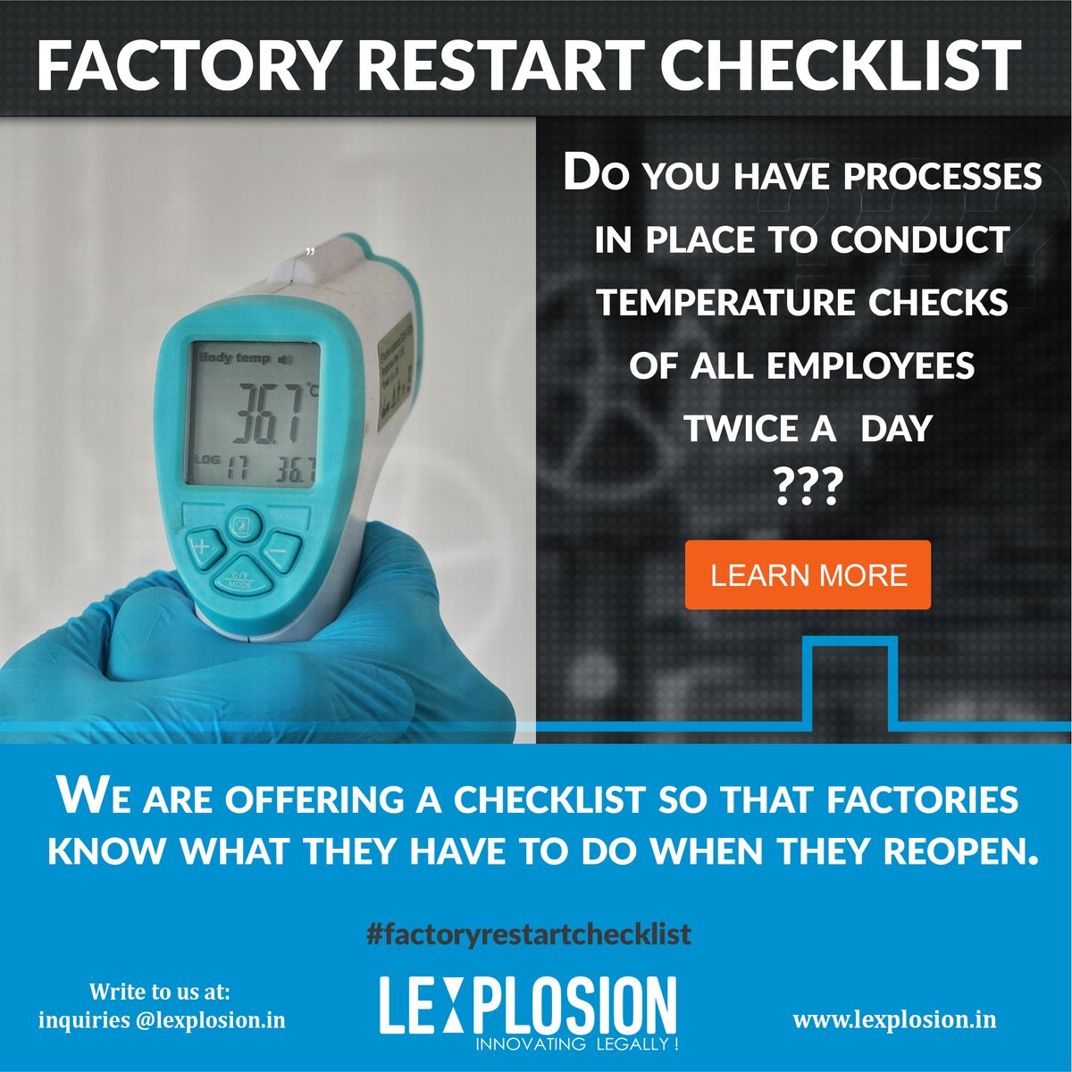 Do you have processes in place to conduct temperature checks of all employees twice a  day? Checkout our #factoryrestartchecklist - https://lexplosion.in/regulatory-statutory-update/factory-restart-checklist/ … #unlockindia #unlock1 #covid19india #covid19impact #compliancechecklist #compliance #covid19crisis #lockdown2020pic.twitter.com/dRg8fujNG2
