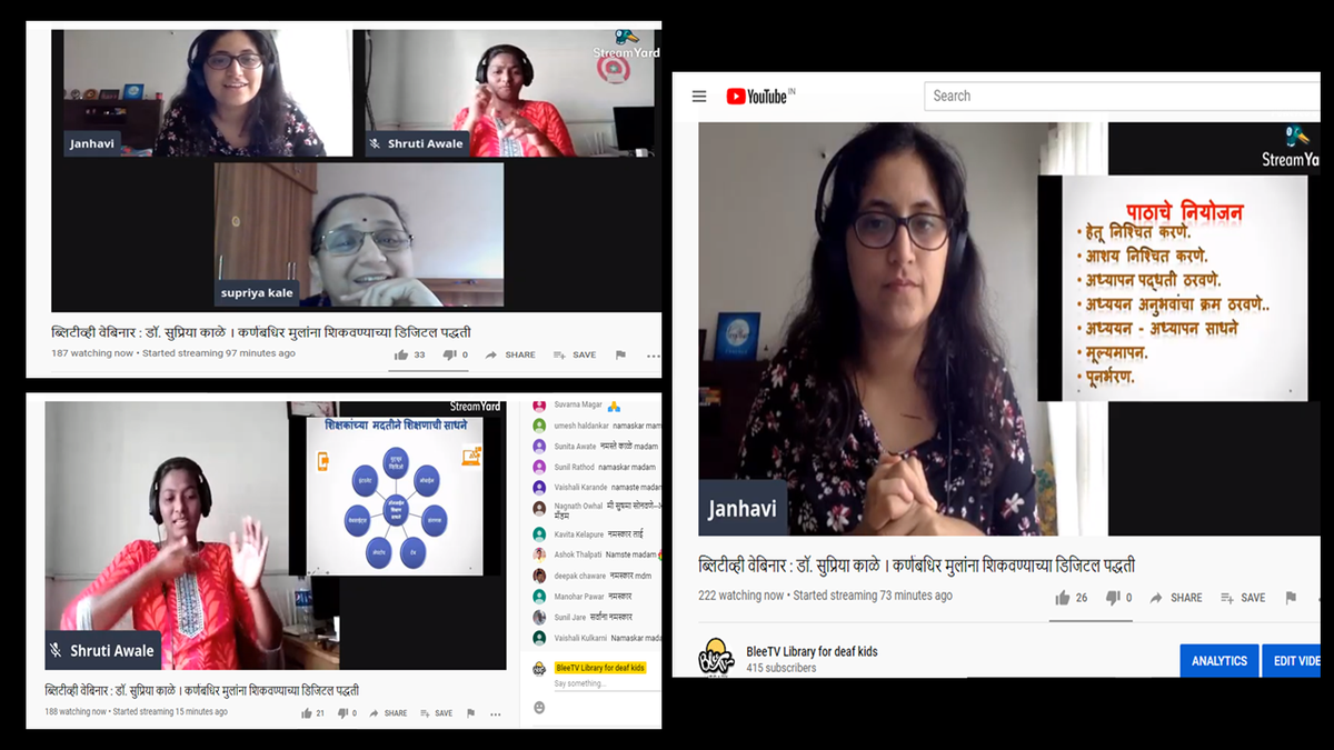 """""""Exploring #Digital #Methods  Of #teaching #DeafStudents"""" A very informative session with Dr Supriya Kale, for teachers and parents of the deaf kids. Recently, @bleetechindia  had organised a series of webinars to give insights into this #DigitalLearning topic. https://t.co/V343kT8ARk"""