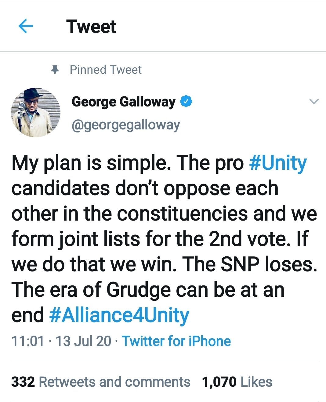 "Galloway Launches New Scottish ""Unionist"" Front, the ""Alliance for ..."