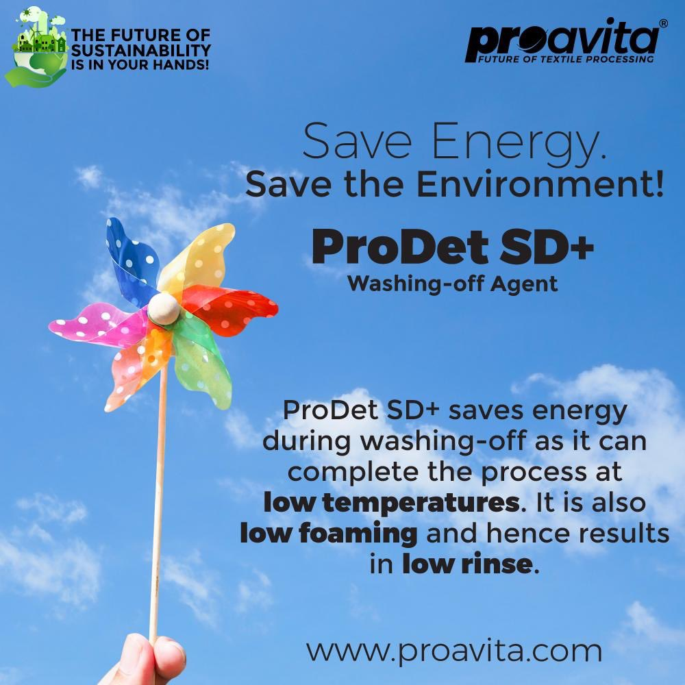 #Proklean technologies introduced  #ProAvita Prodet SD+ ( bio based formulation )  low temperature low foaming & low rinse  this is an efficient washing of agent for removal of hydrolysed and unfixed reactive dyes at temperature 60 °C   #biobased  #biomaterials  #sustainabilitypic.twitter.com/0GMlS6mVeM