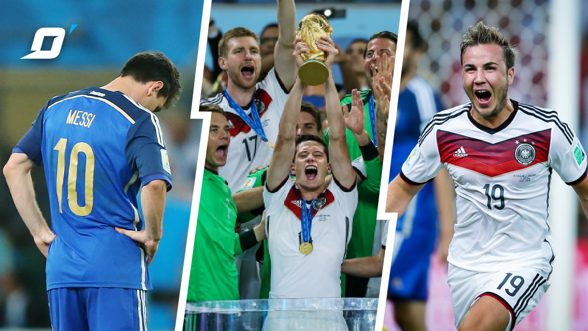 #OnThisDayInFootball in 2014 Germany climbed the top of the world!   The Bundestim defeated Argentina 1-0, and Mario Gotze became the hero that night, scoring the winning goal in 113' to secure the #WorldCup trophy!   Ever watched a better German team? pic.twitter.com/tTHUjxIequ