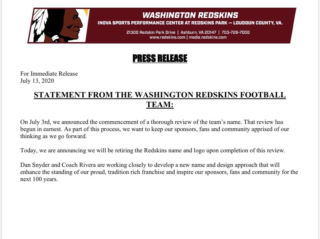 O logo e o nome Washington Redskins foram aposentados. Qual que é o substituto? Não sabemos ainda.