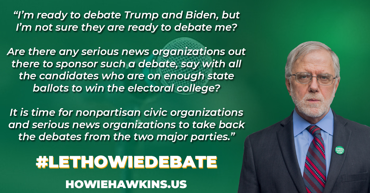Any place. Any time. Howie is ready to debate Trump and Biden. But they aren't willing to debate him.   #OpenTheDebates #LetHowieDebate