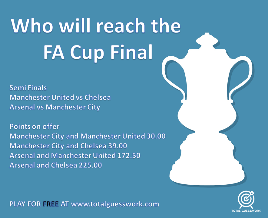 QUESTION ANNOUNCEMENT: Who will reach the FA Cup final from this weekend's semi finals.  Play for FREE now at https://t.co/e944NC4Z35  #FACup #manutd #chelsea #arsenal #ManCity https://t.co/or7pl32zO8