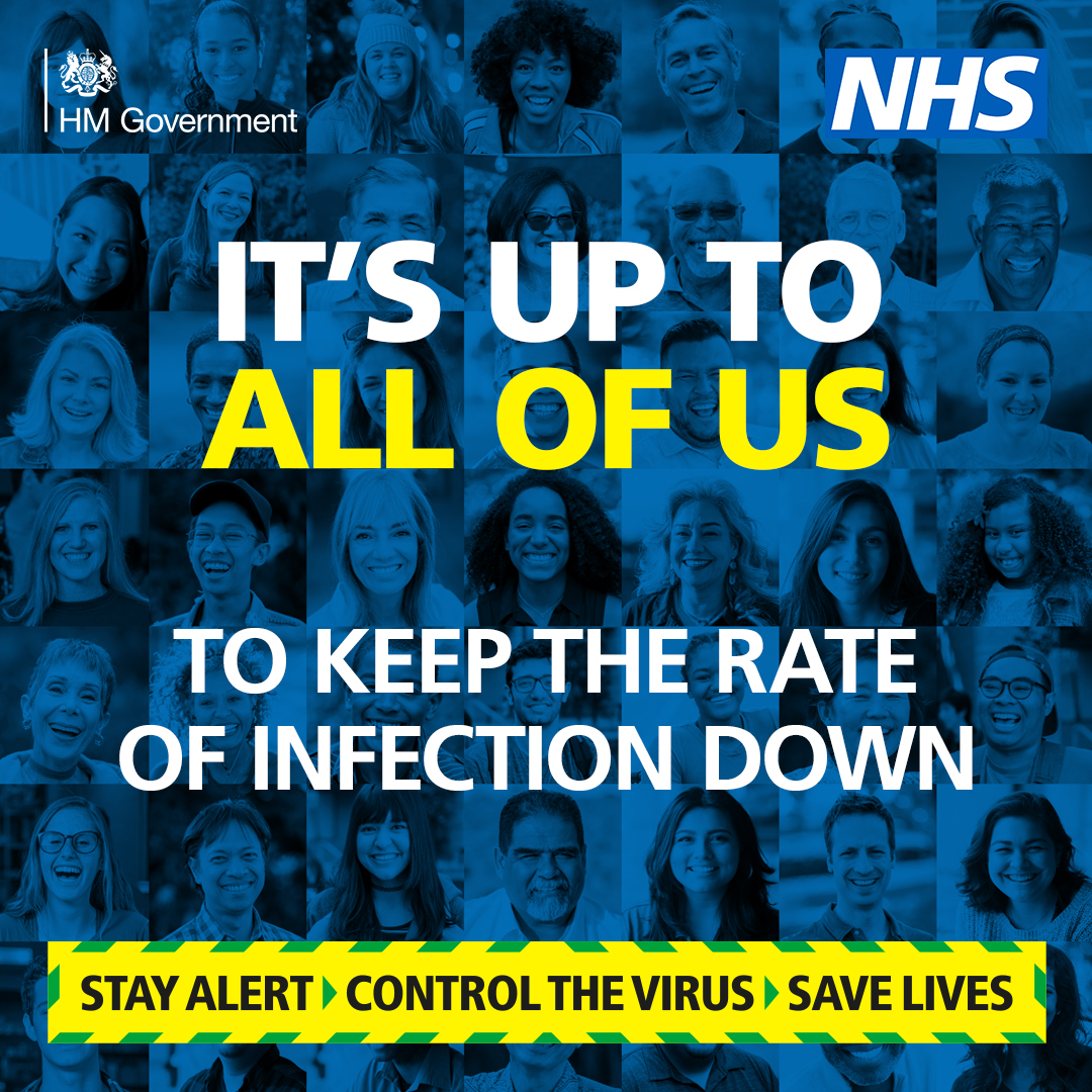 Every single one of us can play a part in keeping the rate of infection down in our communities. For the most up-to-date guidance, click here 👇 gov.uk/coronavirus #StayAlert #ControlTheVirus #SaveLives