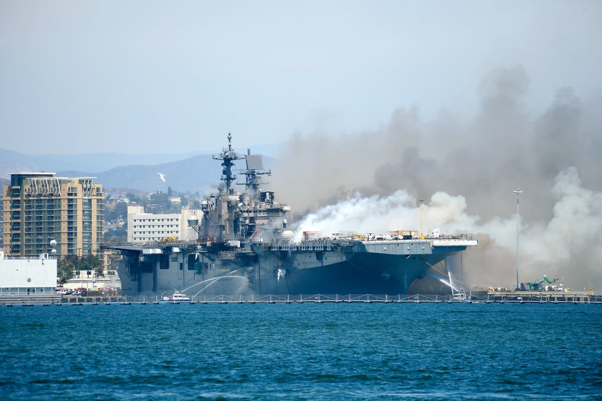 LATEST: Firefighters Monday  continued to battle a stubborn blaze aboard the Navy ship USS Bonhomme Richard, docked in San Diego. The fire injured at least 21 people. About 160 sailors and officers were aboard Sunday when the  explosion and fire occurred. https://t.co/OCeR6qr0Ff https://t.co/fYbhjqEu11