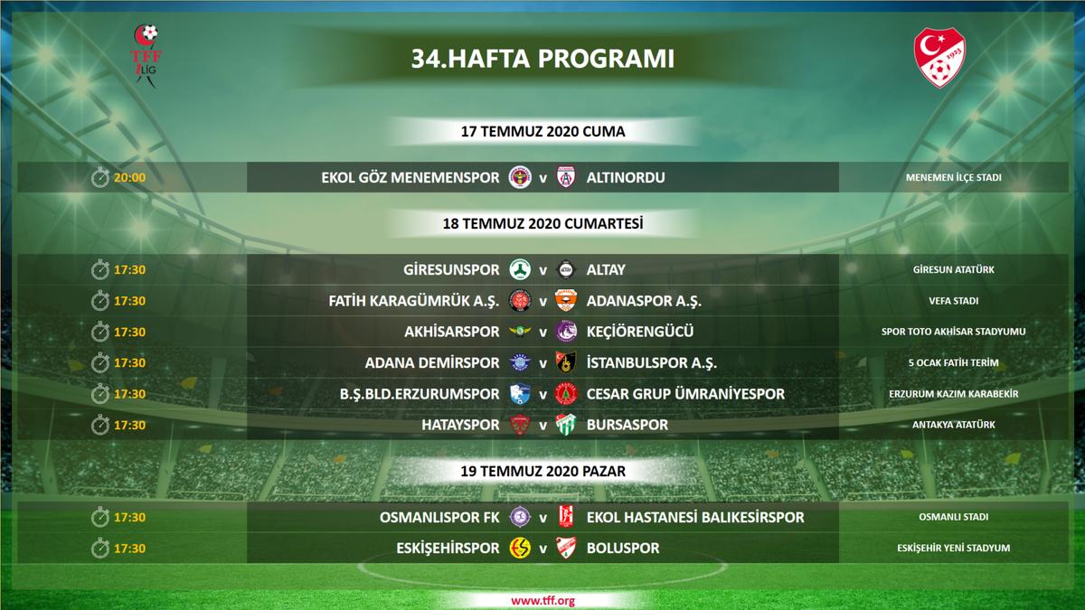 SON DAKİKA | TFF 1. Lig 34. hafta karşılaşma programı açıklandı! https://t.co/nSwJmJsMqa