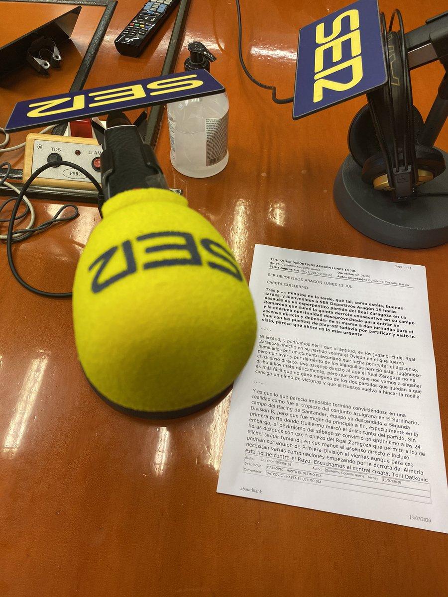 Arrancamos ya SER Deportivos Aragón !!! Tertulia con Santiago Valero, @pacobeltran4 y @JaviMarin7 . https://t.co/JdJfslAgLU