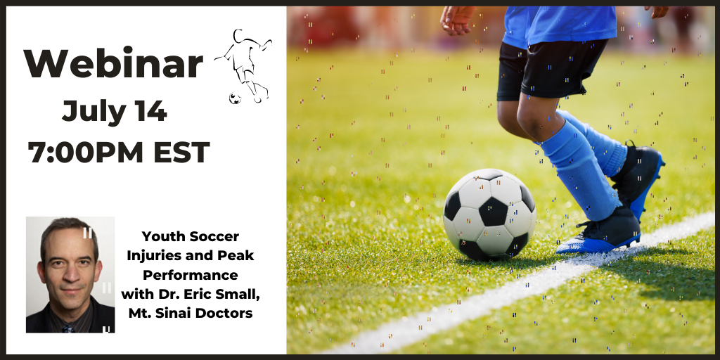 Webinar Tuesday, July 14 at 7:00 PM EST: Join nationally recognized Sports Medicine expert Dr. Eric Small for a live webinar on youth soccer injuries & peak performance. ⚽️  https://t.co/n2pwFVLWzd  #SportsMedicine #Soccer #Performance #SportsInjuries #YouthSoccer https://t.co/kIqGEFreJx