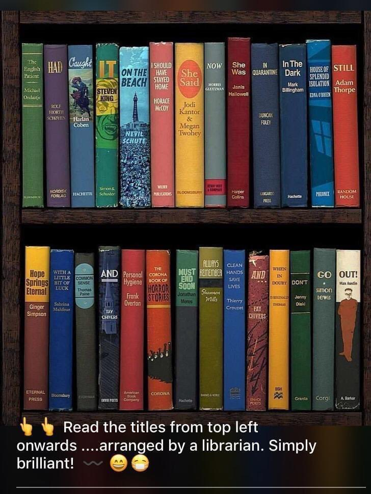Very clever... read the titles.