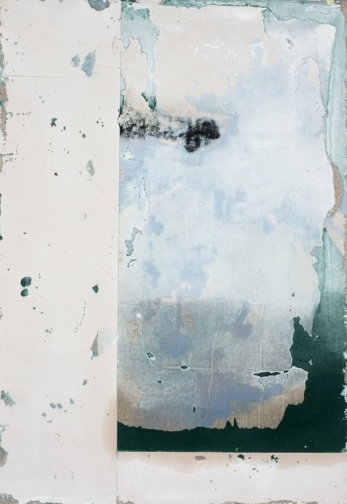 untitled (averses) by antoine puisais, mixed media on linen, 2020