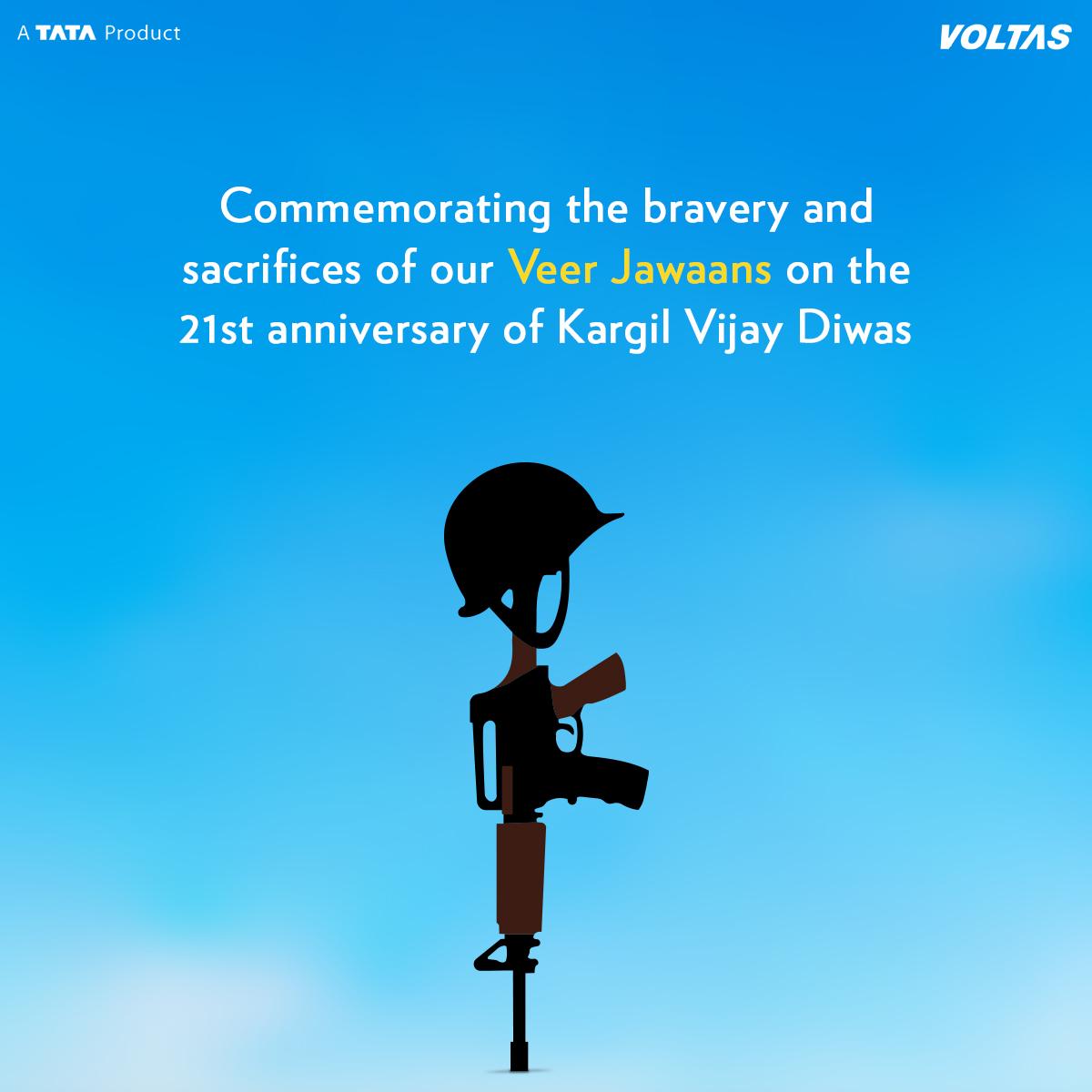 The tales of their bravery, sacrifices and triumph will never be forgotten. Voltas salutes the Indian Army for their selfless service and love towards the nation. #KargilVijayDiwas #KargilWar #VijayDiwas #Voltas https://t.co/l9vCXa12K6