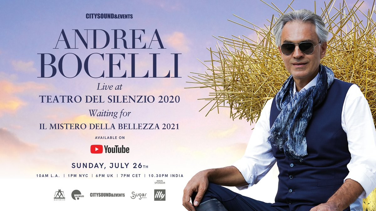 ANDREA BOCELLI LIVE AT TEATRO DEL SILENZIO 2020 waiting for IL MISTERO DELLA BELLEZZA 2021 Available worldwide TODAY, JULY 26th at 1pm GMT | 7pm CET On YouTube: youtube.com/andreabocelli