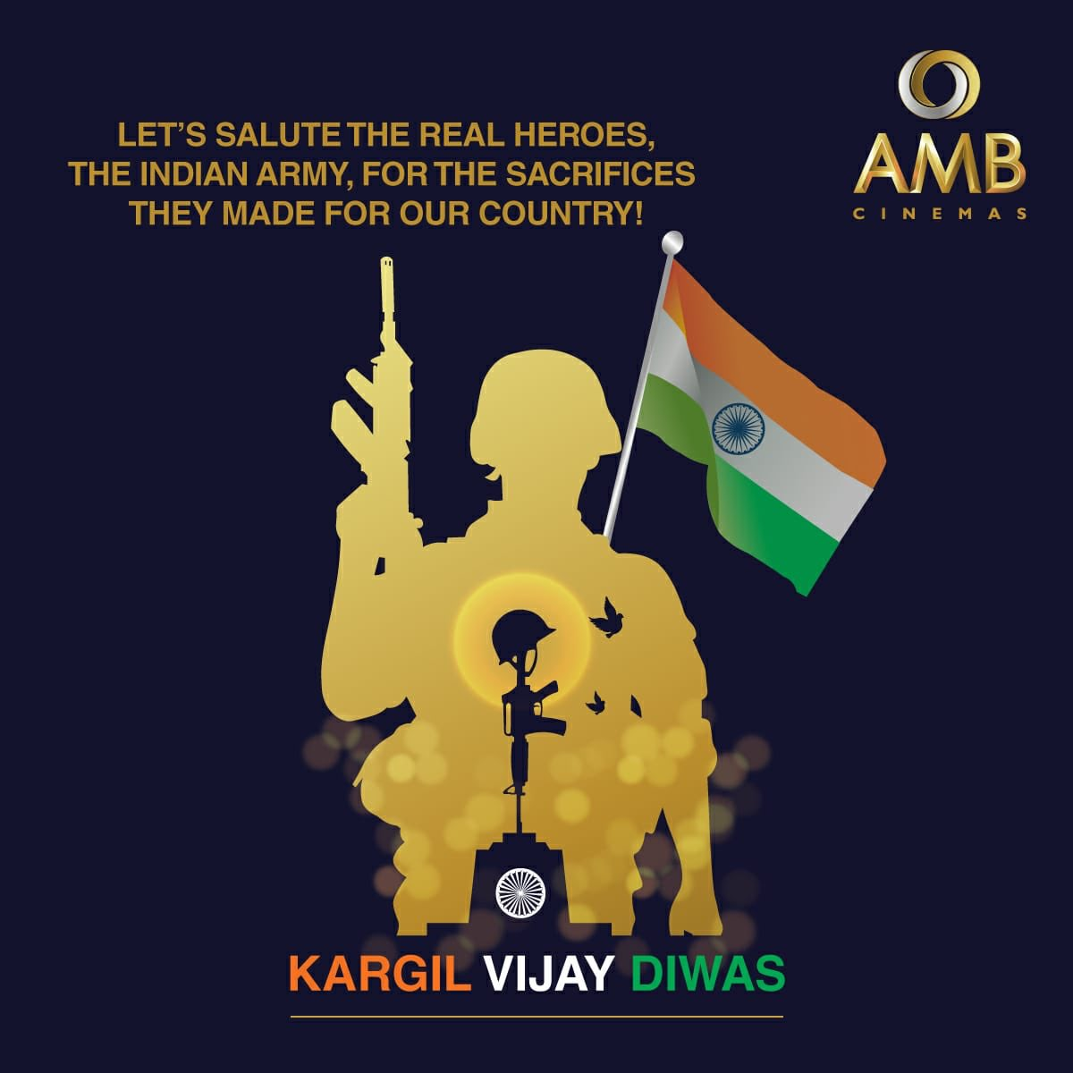 AMB Cinemas salutes the valour and grit of the Indian soldiers on the occasion of 21st anniversary of the Kargil Vijay Diwas. We are proud of the heroes of India, who are dedicated to protecting our motherland!🇮🇳❤️ #KargilWar #KargilVijayDiwas #Victory #Salute #Soldiers (1/2)