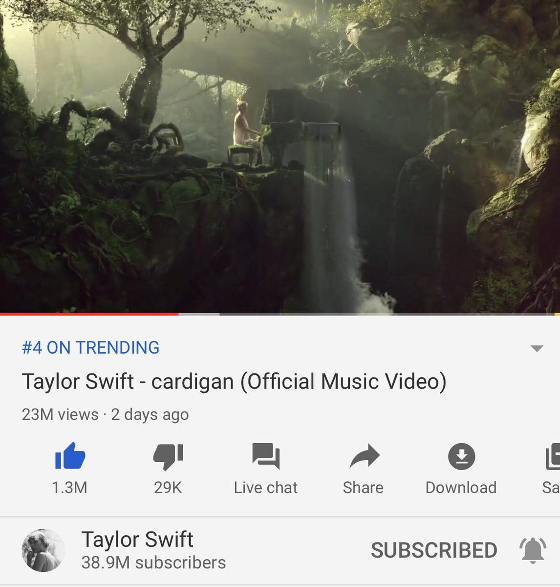 Taylor Swift News On Twitter Cardigan Is Currently Trending At 4 On Youtube With Over 22 Million Views And 1 3 Million Likes What Is Your Favorite Scene From The Video