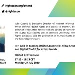 Image for the Tweet beginning: Introducing our final #RightsCon speaker,