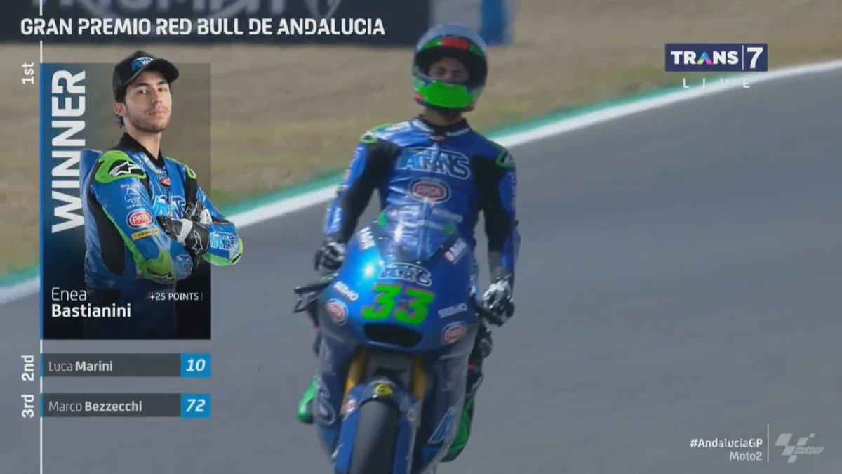 Finish!  @eneabastianini berhasil menjadi pemenang di #AndaluciaGP! #Moto2 https://t.co/uS4aO3JYTH