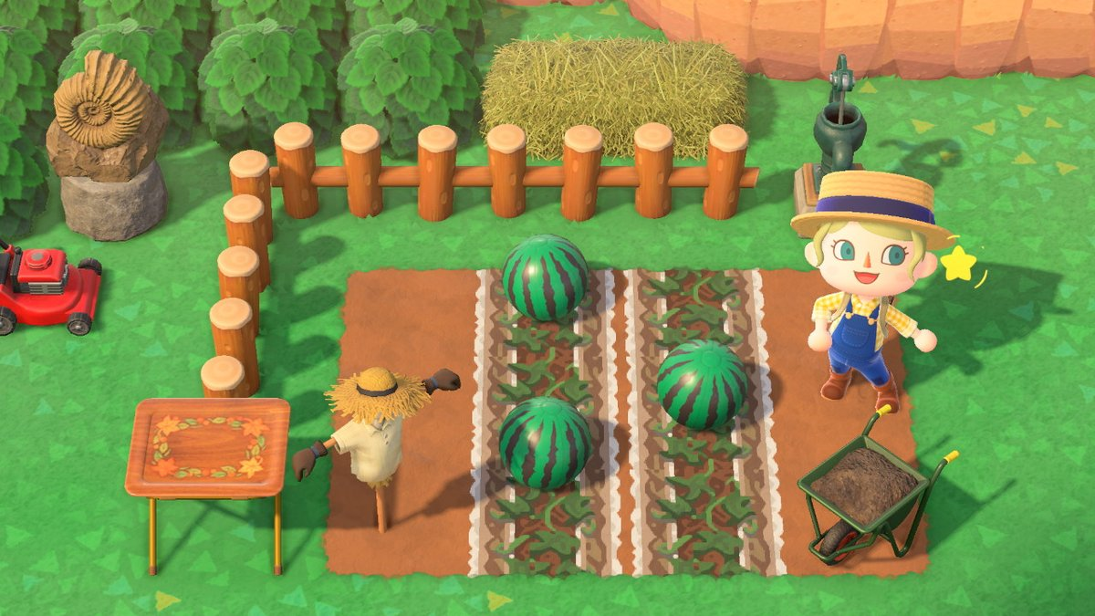 毎日マイデザ!夏!本格的なスイカ畑を求めるあなたに!スイカ用の地面が出来ました!実際のスイカ畑を再現!地面をビニールで覆い、蔓や葉を追加しています! #どうぶつの森 #AnimalCrossing #ACNH #NintendoSwitch #マイデザイン